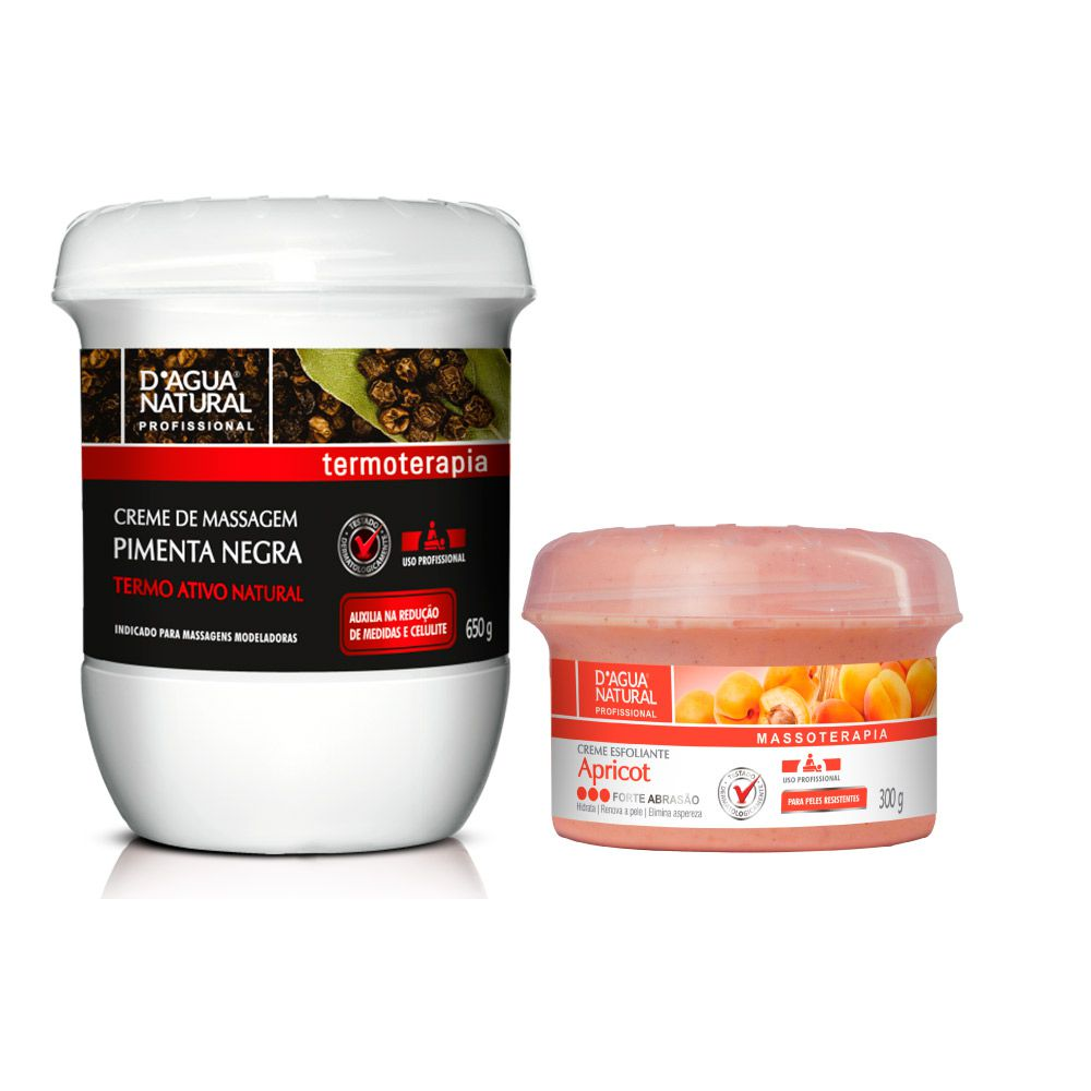 Kit Massagem Pimenta Negra  e Esfoliante Forte 300g Dagua Natural