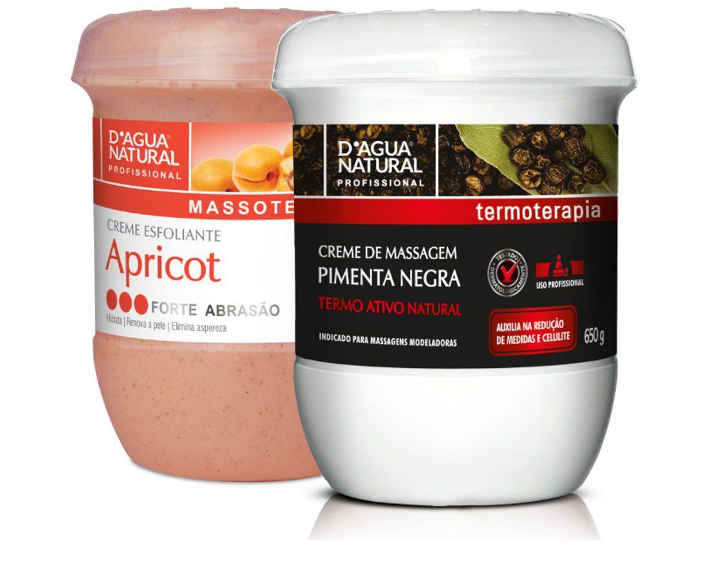 Kit Massagem Pimenta Negra  e Esfoliante Forte 650g Dagua Natural