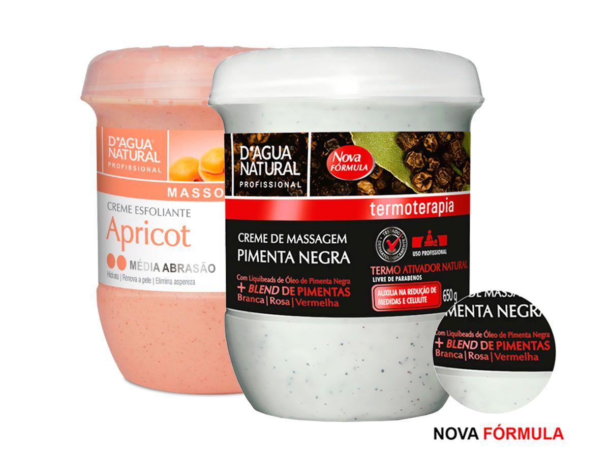 Kit Massagem Pimenta Negra  e Esfoliante Médio 650g Dagua Natural