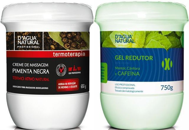 Kit Massagem Pimenta Negra e Gel Redutor Dagua Natural