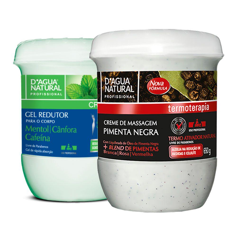 Kit Massagem Pimenta Negra e Gel Redutor Dagua Natural
