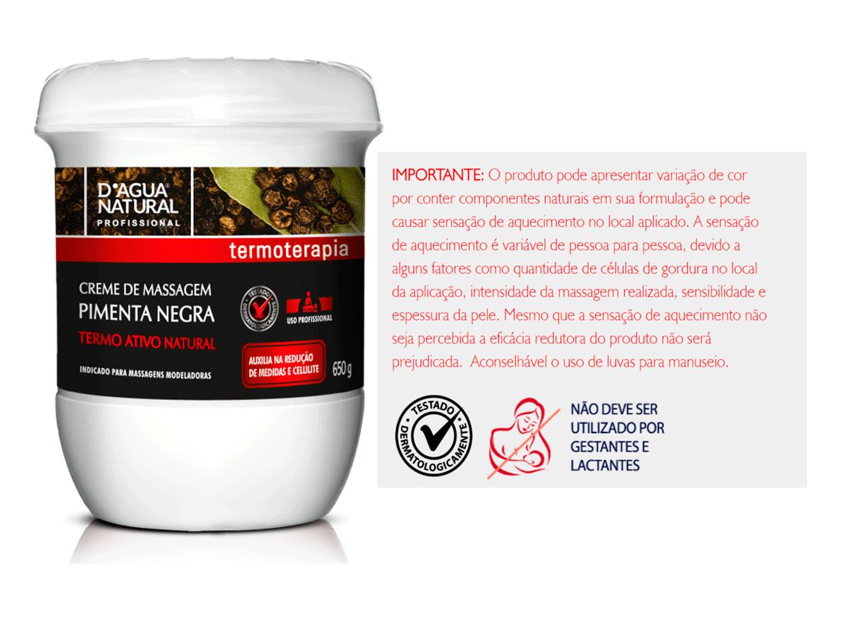 Kit Massagem Pimenta Negra, Esfoliante Forte Abrasão e Gel Redutor Dagua Natural