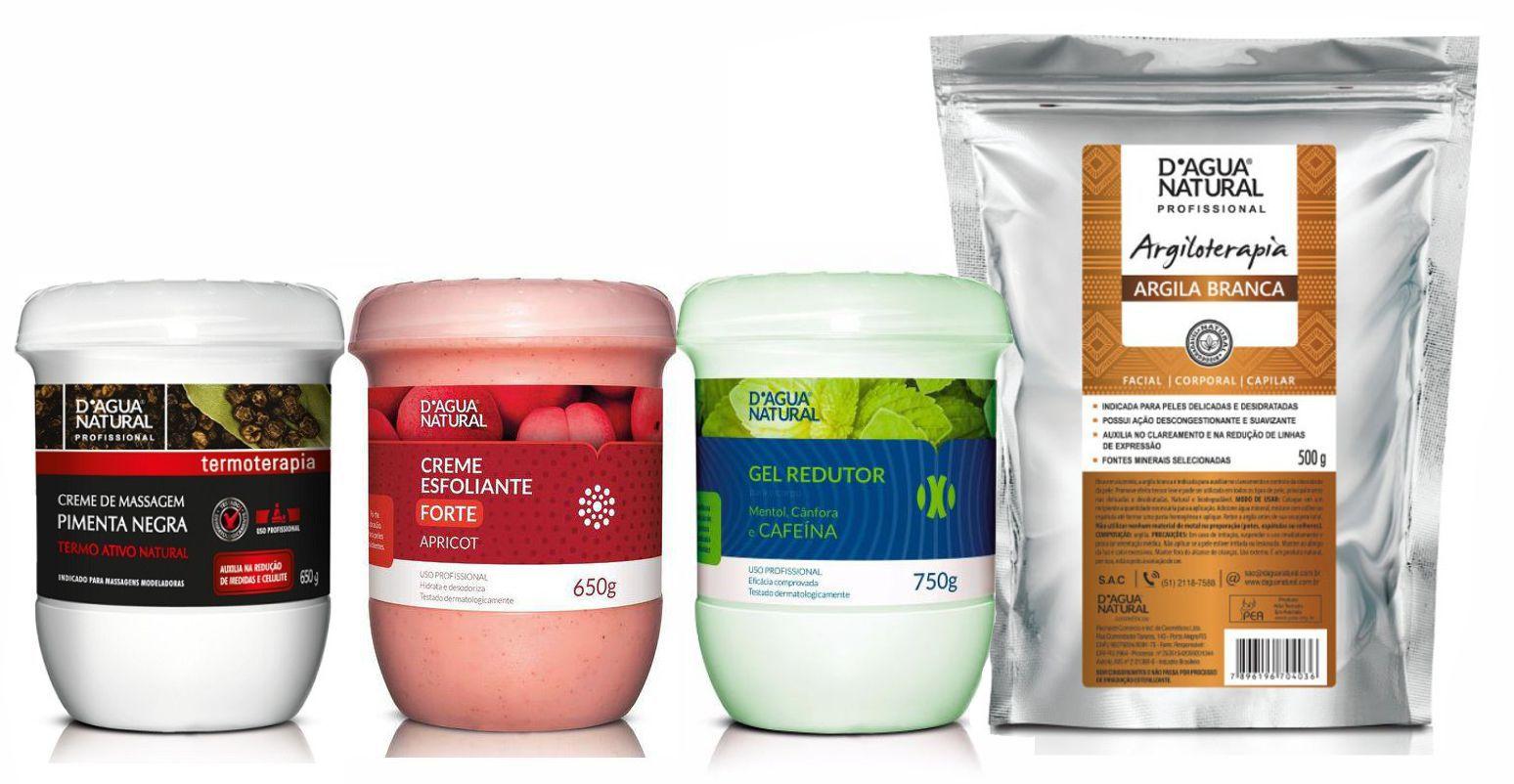 Kit Massagem Pimenta Negra, Esfoliante Forte Abrasão, Gel Redutor e Argila Branca Dagua Natural