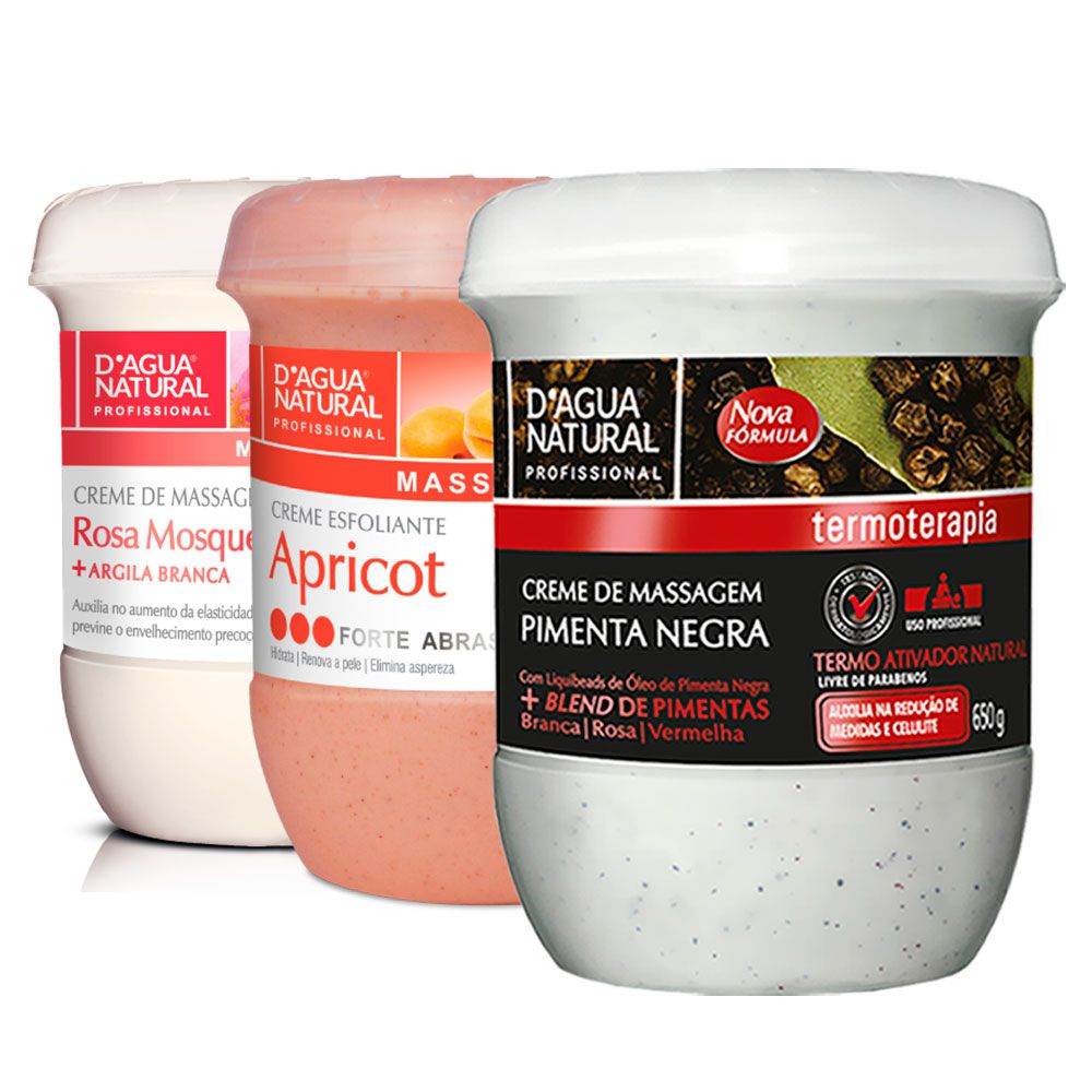 Kit Massagem Pimenta Negra, Esfoliante Forte e Creme de Massagem Rosa Mosqueta Dagua Natural