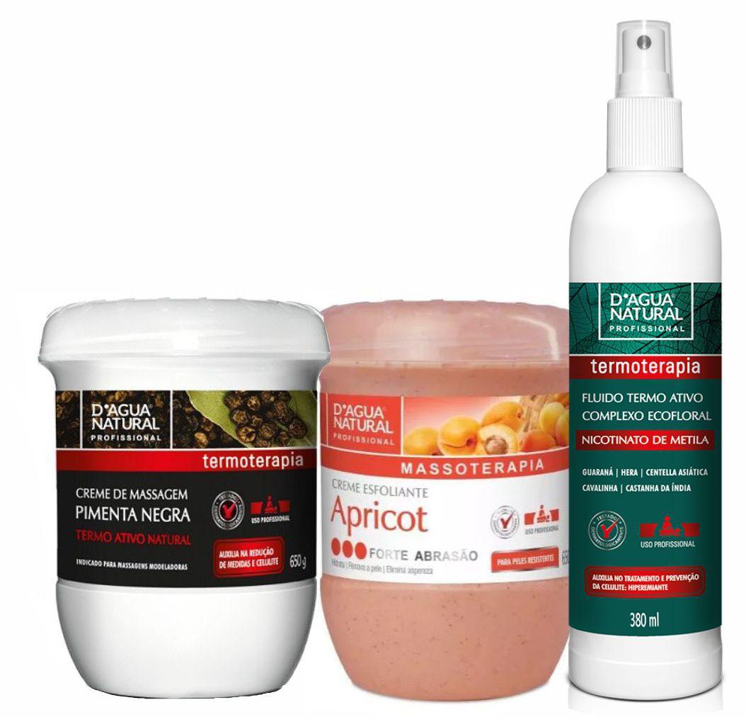 Kit Massagem Pimenta Negra, Fluido Termoativo e Esfoliante Forte Abrasão Dagua Natural
