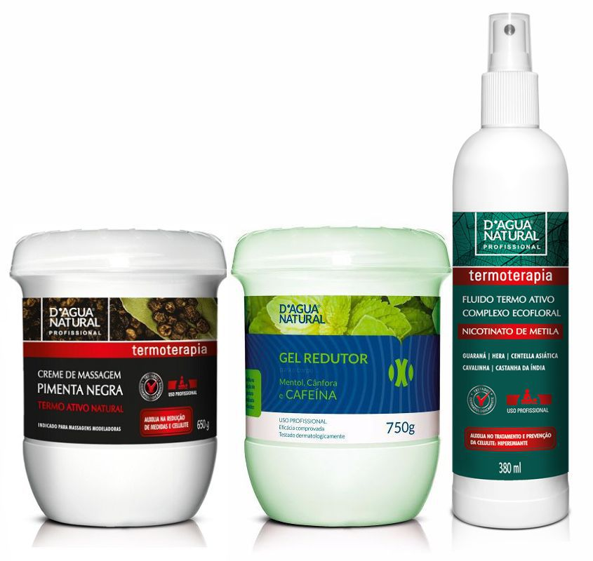 Kit Massagem Pimenta Negra, Fluido Termoativo e Rel Redutor Dagua Natural
