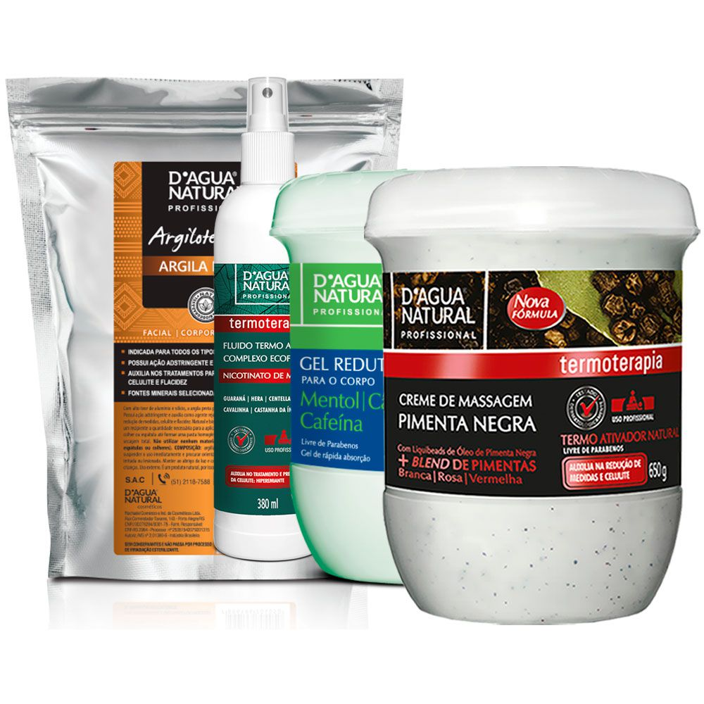 Kit Massagem Pimenta Negra, Fluido TermoAtivo, Gel Redutor e Argila Preta Dagua Natural