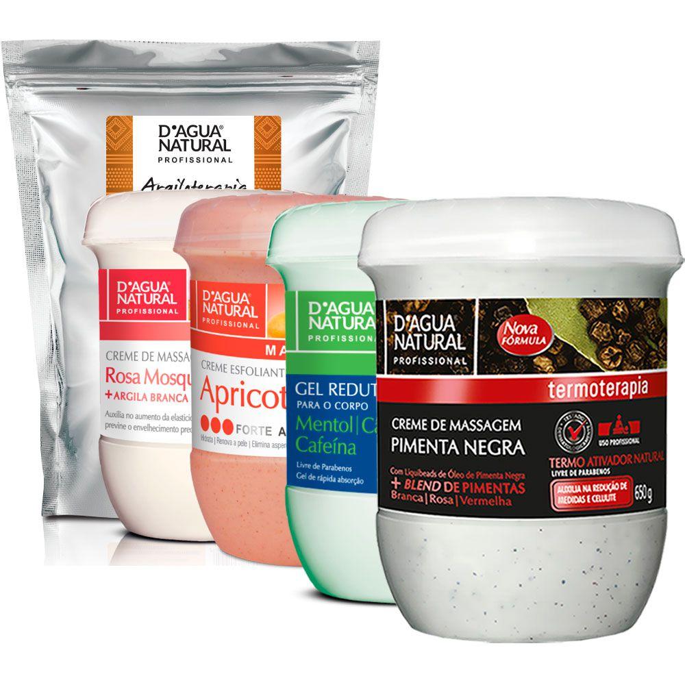 Kit Massagem Pimenta Negra, Rosa Mosqueta e Argila Branca, Gel Redutor e Esfoliante Dagua Natural