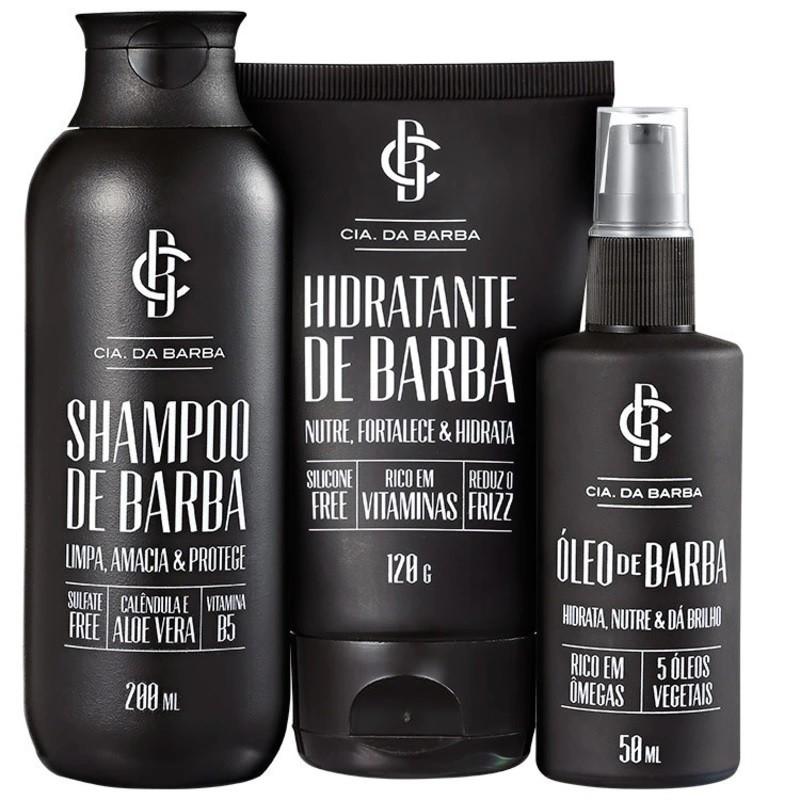 Kit Shampoo, Hidratante e Óleo De Barba Cia Da Barba