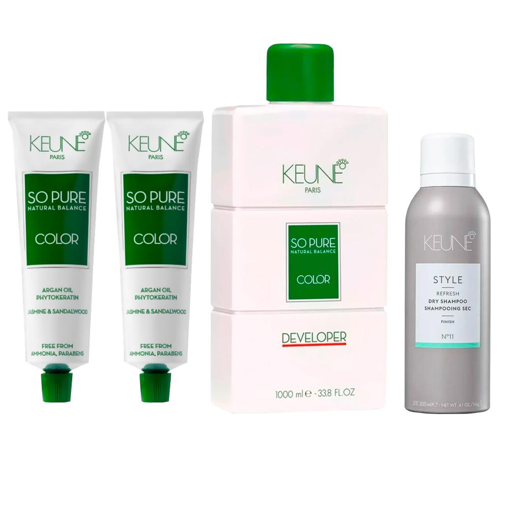 Kit So Pure 5 + So Pure 6.19 + 1 Oxidante So Pure 10Vol 1000ml + Keune Style Dry Shampoo 200ml