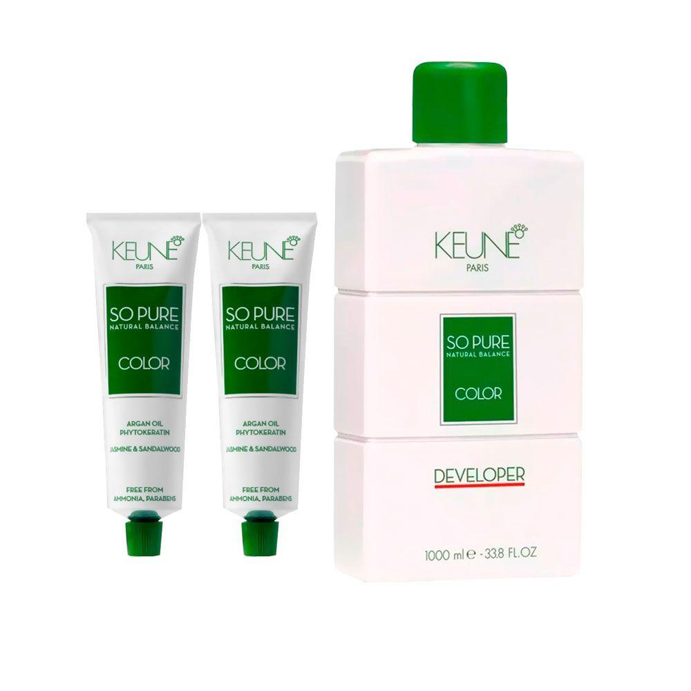 Kit So Pure 7.14 Louro Médio Caramelo + So Pure 7.32 Louro Médio Bege + 1 Oxidante So Pure 20Vol 1000ml