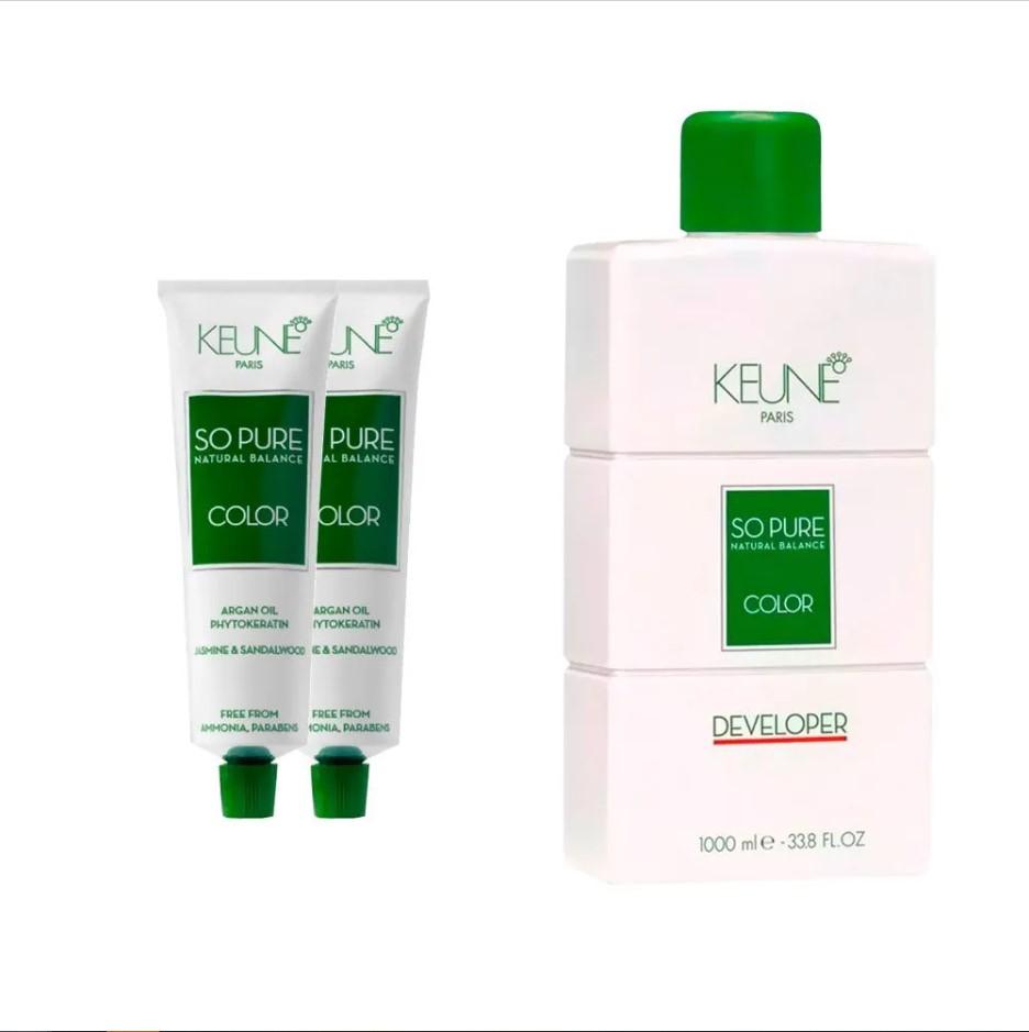 Kit So Pure 7 Louro Médio 60ml + So Pure 6 Louro Escuro 60ml + 1 Oxidante So Pure 20Vol 1000ml