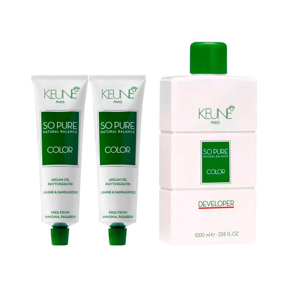 Kit So Pure 7 Louro Médio + So Pure 7.32 Louro Médio Bege + 1 Oxidante So Pure 20Vol 1000ml