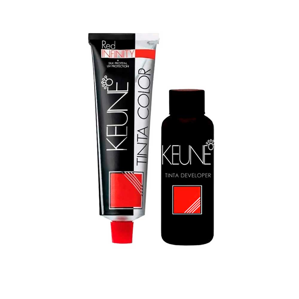 Kit Tinta Keune Color Red Infinity 60ml - Cor 5.56 + Ox de 20 Volumes