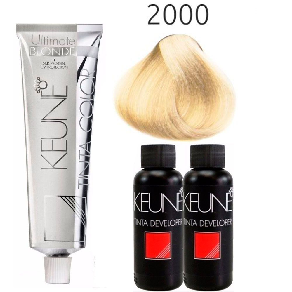 Kit Tinta Keune Ultimate Blonde 2000 - Super Louro + 2 Oxidantes 9% 30 vol