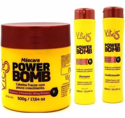 Kit Vitiss Power Bomb Shampoo 300ml + Condicionador 300ml + Máscara 500g