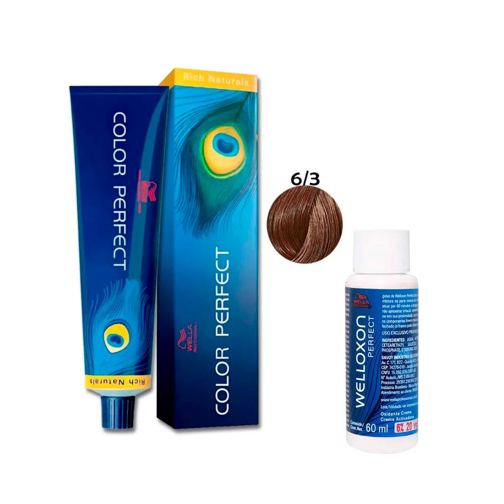 Kit Wella Coloração Color Perfect 6/3 Louro Escuro Dourado + Oxidante de 20Vol 60ml