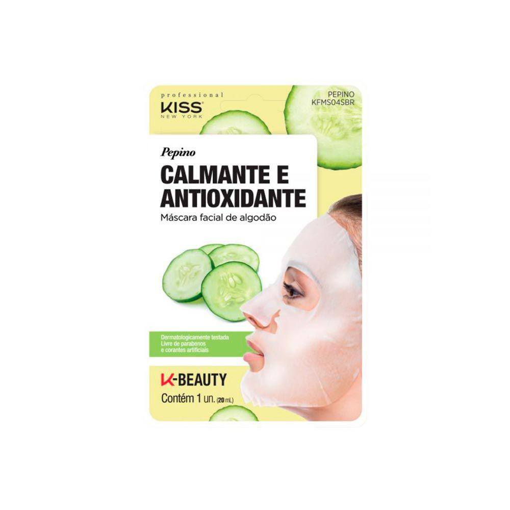 Máscara Facial De Algodão Kiss Ny - Pepino Calmante E Antioxidante
