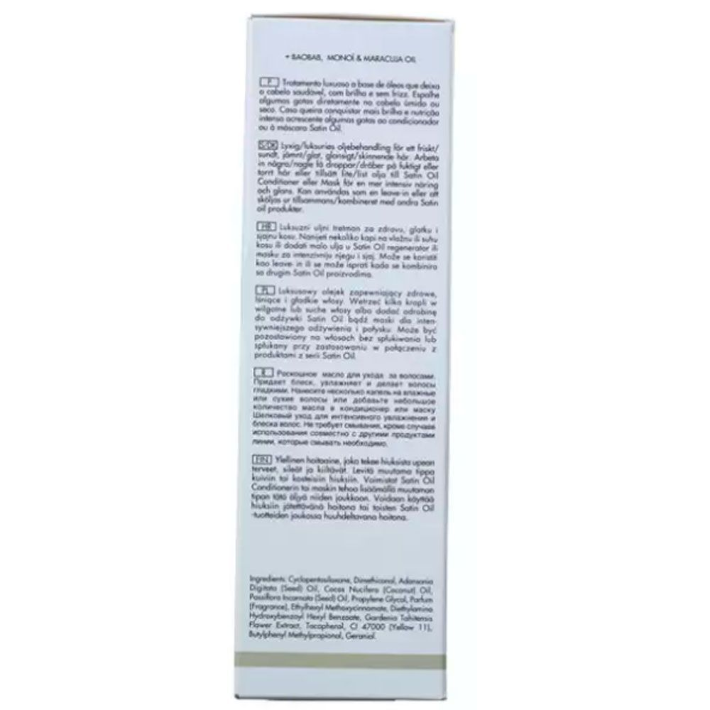 Óleo Capilar Nutritivo Keune Satin Oil Treatment 95ml