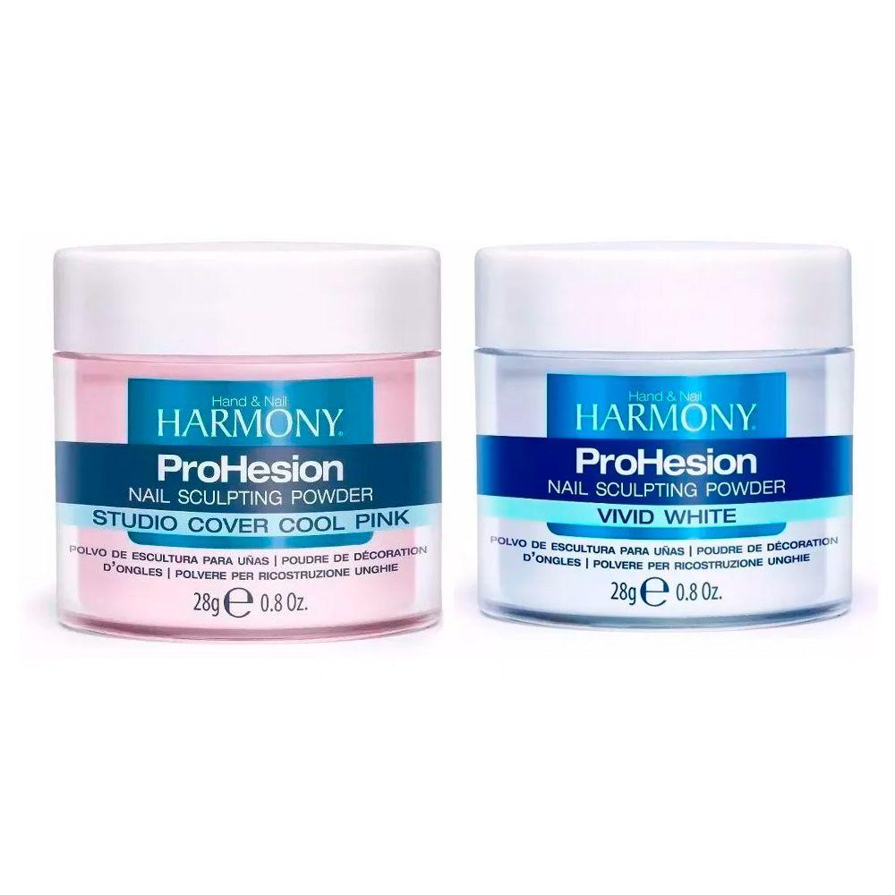 Pó Harmony Vivid White 28g + Pó Harmony Cool Pink 28g