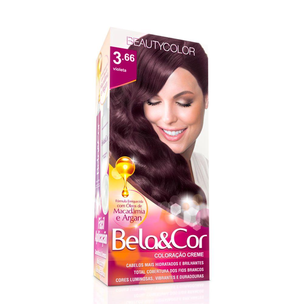 Tinta De Cabelo Beauty Color Bela & Cor 3.66 - Violeta