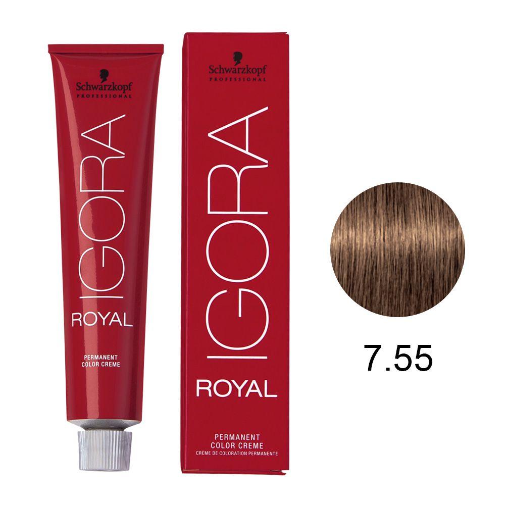 Tinta Igora Royal 60g - Cor 7.55 - Louro Médio Dourado Extra
