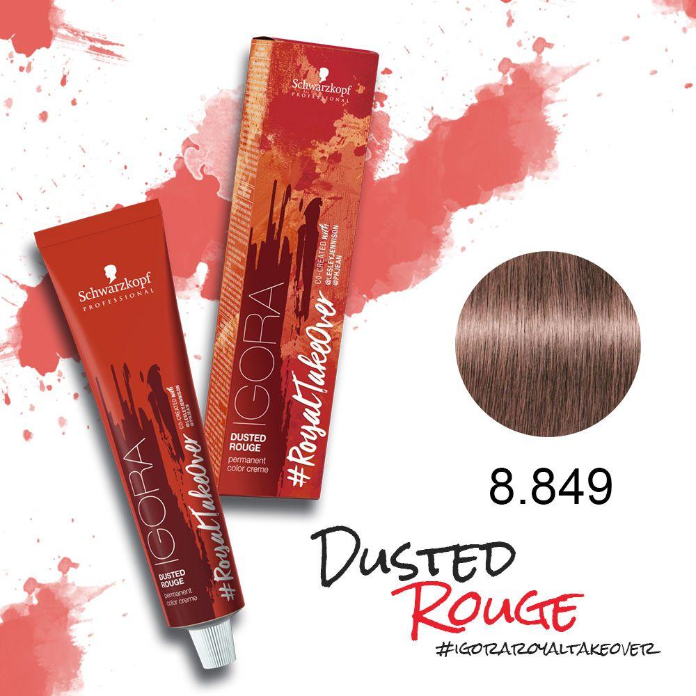 Tinta Igora Royal Take Over Dusted Rouge 60g - Cor 8-849 - Louro Claro Vermelho Bege Violeta