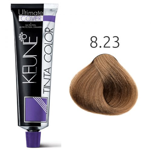 Tinta Keune Color Ultimate Cover 60ml - Cor 8.23 - Louro Claro Cacau