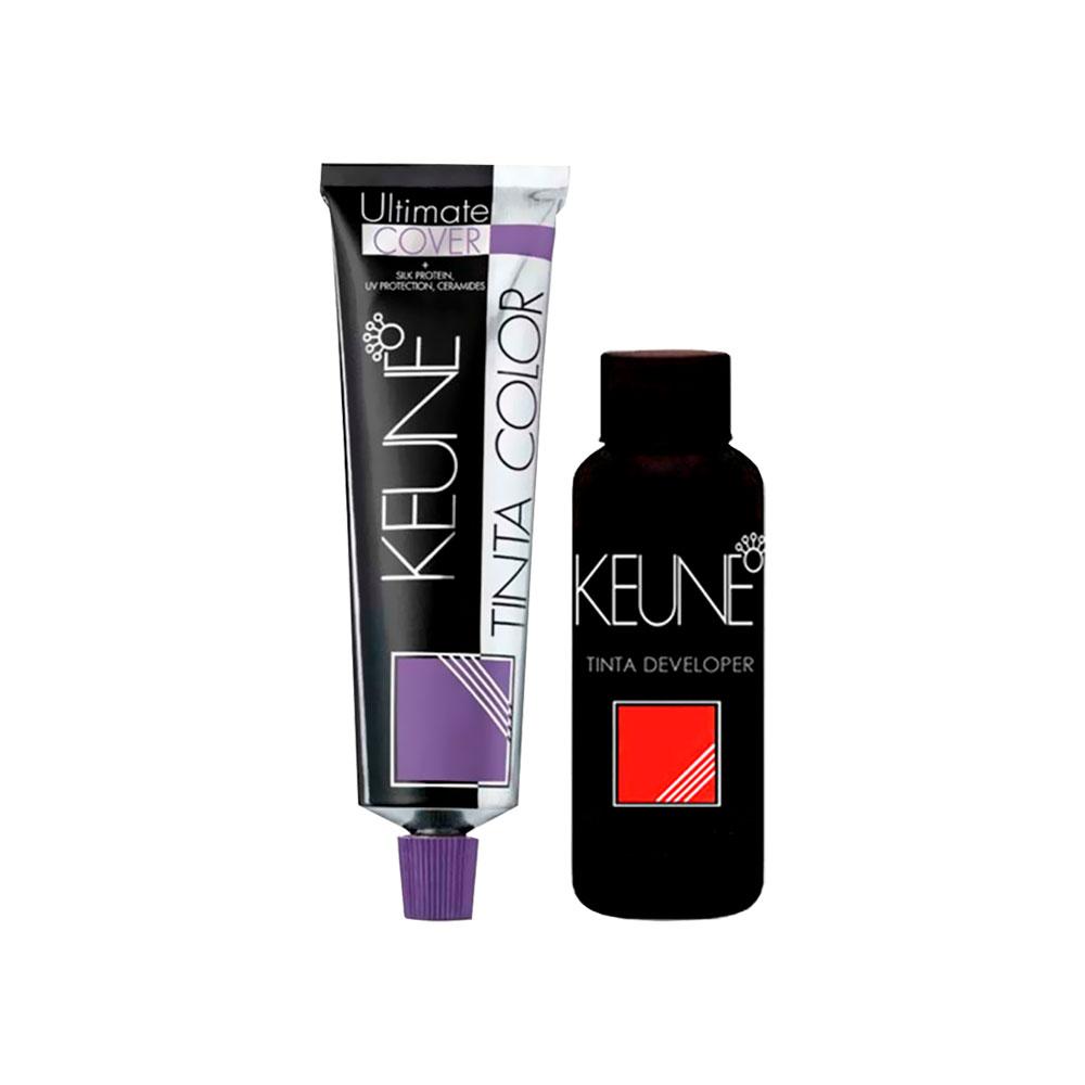 Tinta Keune Color Ultimate Cover Plus 60ml - Cor 8.00 - Louro Claro + Oxidante de 20Vol 60ml