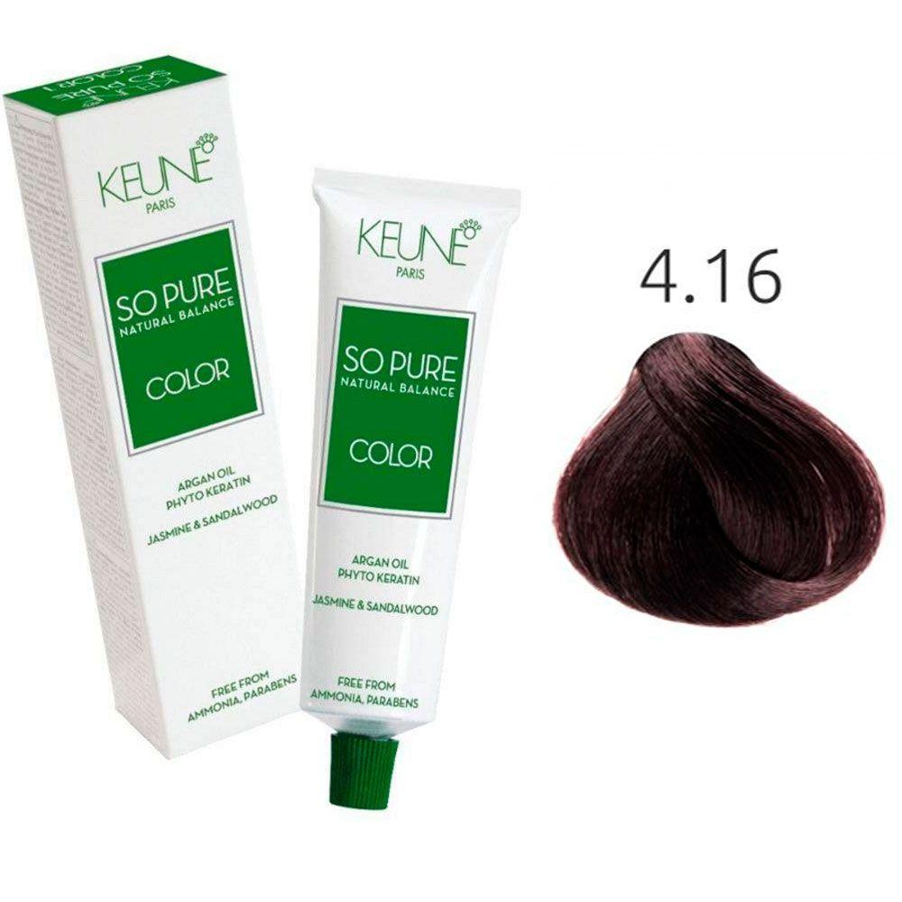 Tinta Keune So Pure 60ml - Cor 4.19 - Castanho Médio Fosco