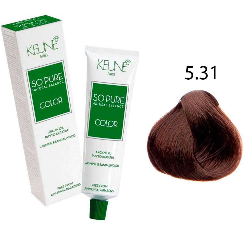 Tinta Keune So Pure 60ml - Cor 5.31 - Castanho Dourado Acinzentado