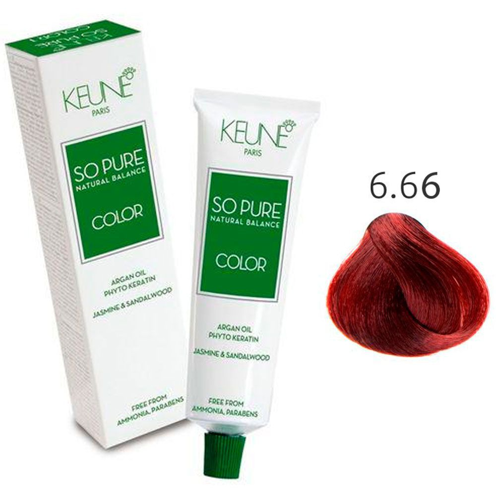 Tinta Keune So Pure 60ml - Cor 6.66 - Louro Escuro Vermelho Intenso (Cereja)