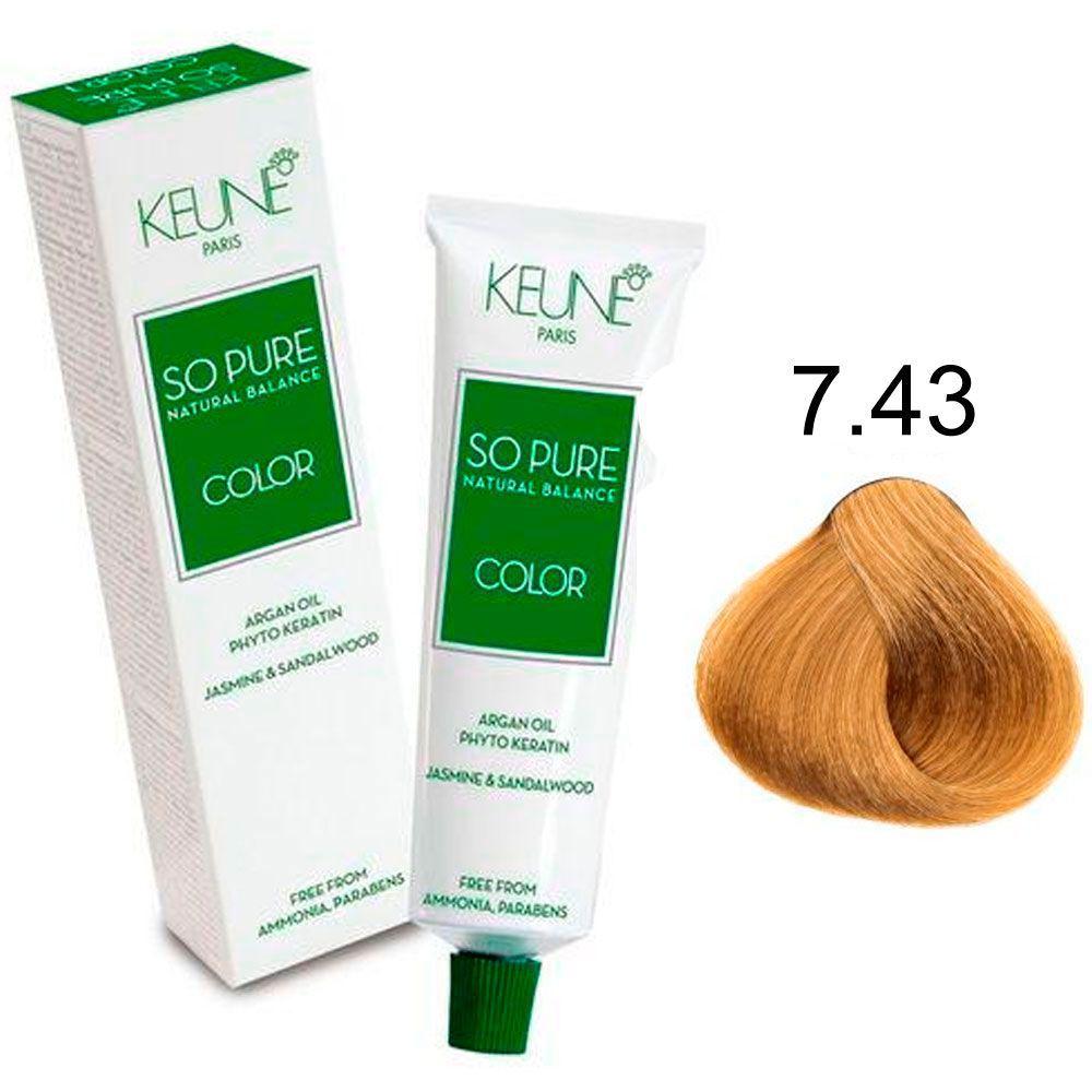 Tinta Keune So Pure 60ml - Cor 7.43 - Louro Médio Cobre Dourado