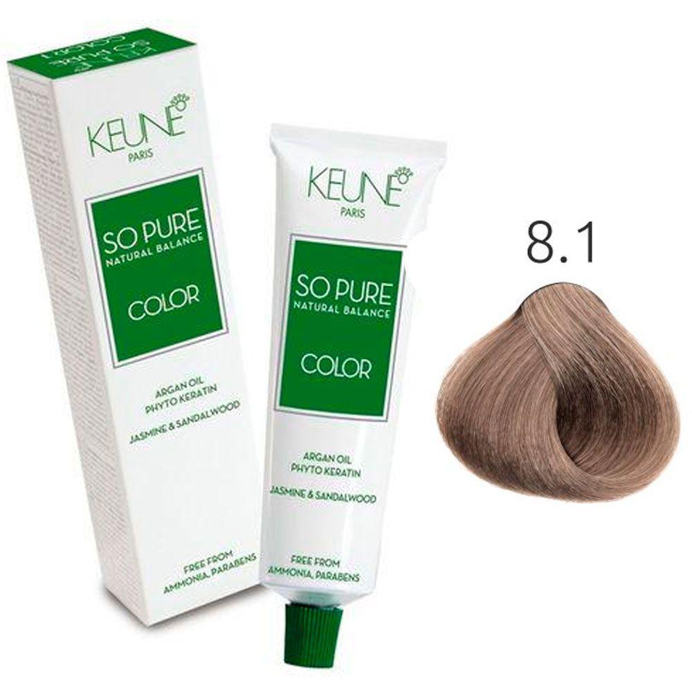 Tinta Keune So Pure 60ml - Cor 8.1 - Louro Claro Cinza