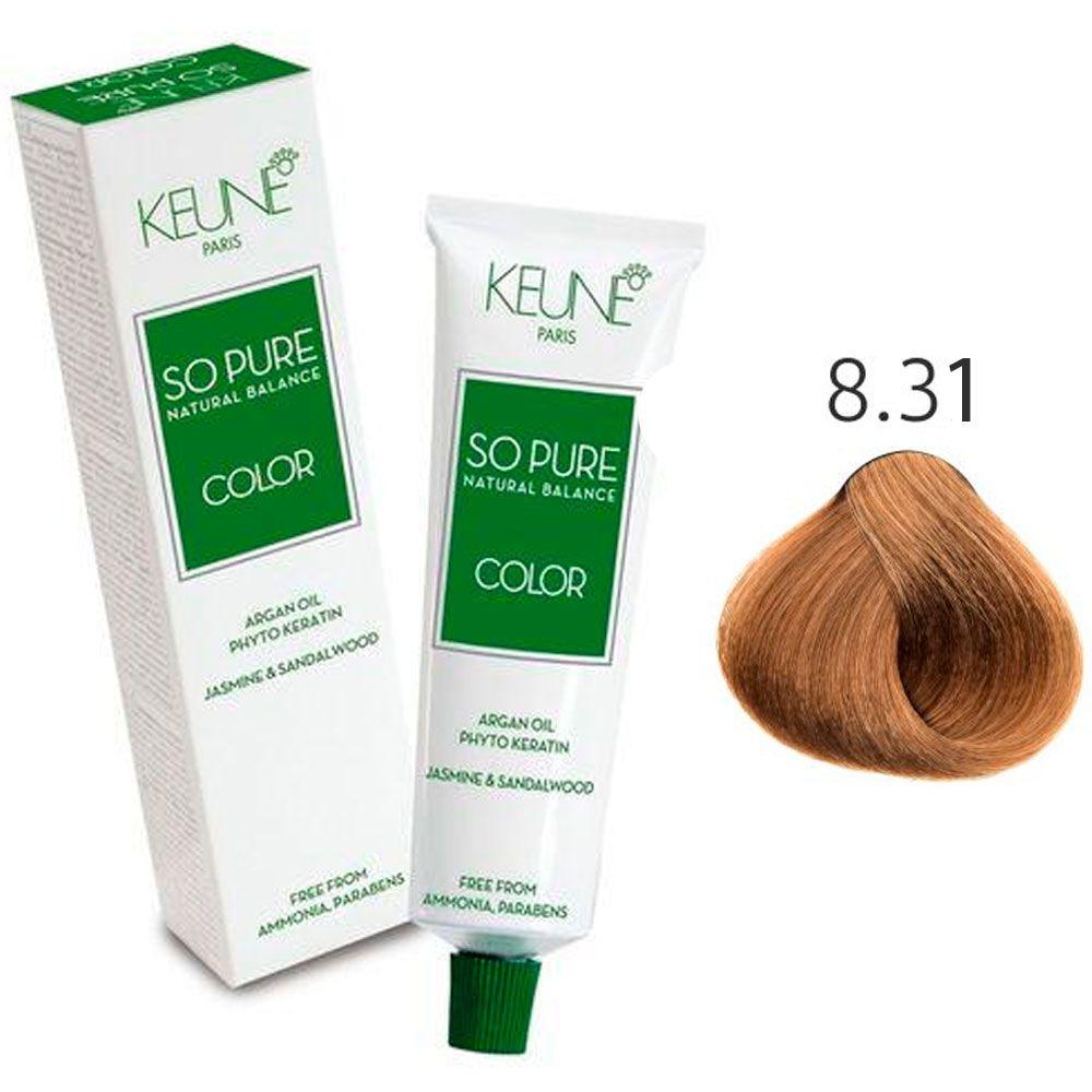 Tinta Keune So Pure 60ml - Cor 8.31 - Louro Claro Bege Dourado