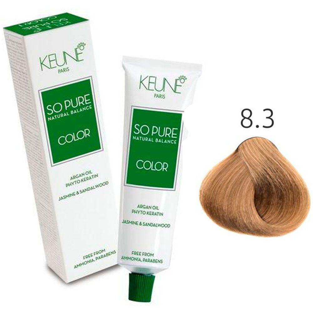 Tinta Keune So Pure 60ml - Cor 8.3 - Loiro Claro Dourado