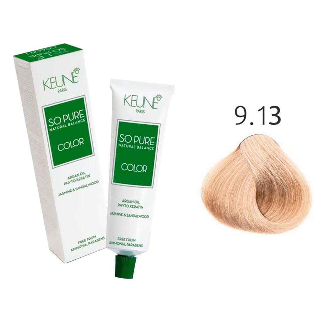 Tinta Keune So Pure 60ml - Cor 9.13 - Louro Muito Claro Cinza Dourado