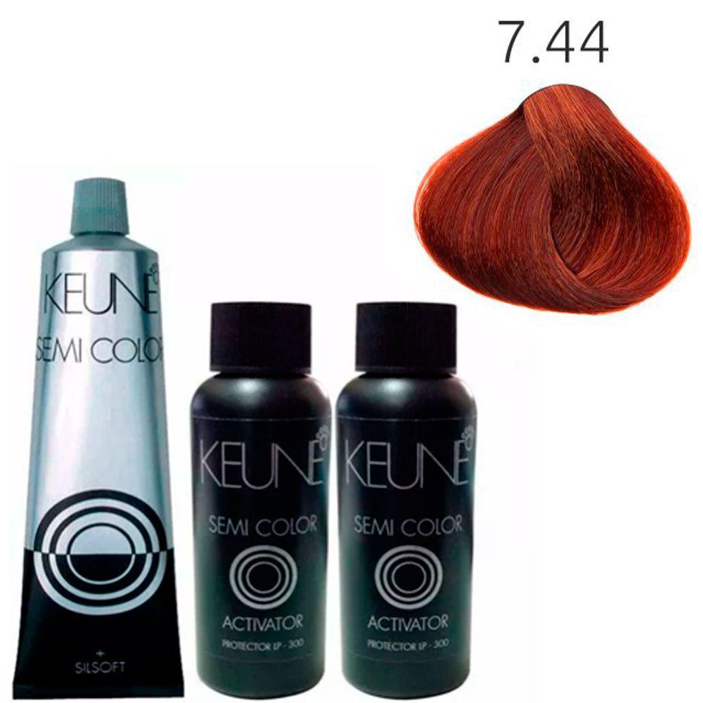 Tonalizante Keune Semi Color 60ml - Cor 7.44 - Louro Médio Cobre +2 Ativadores 60ml