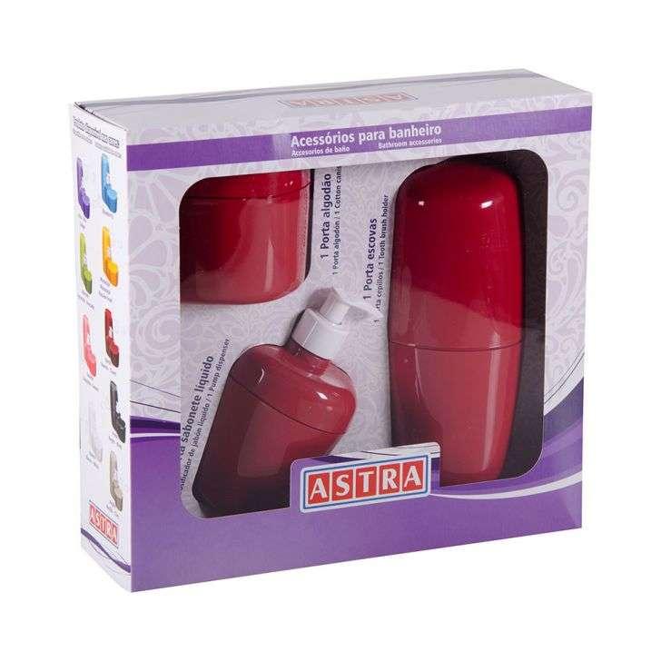 Acessórios para Banheiro 3 pcs (porta algodão/escovas e sabonete liquido) Bordô