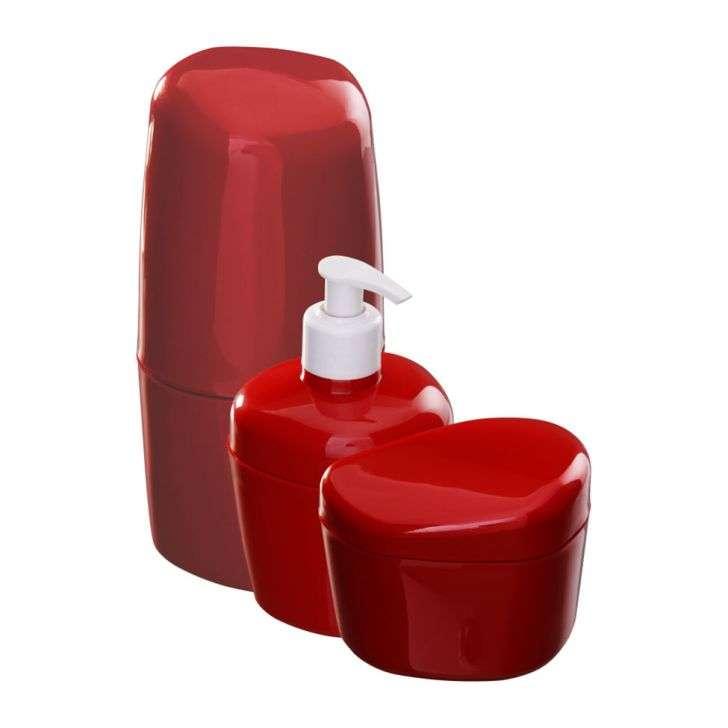 Acessórios para Banheiro 3 peças Bordô/Vinho