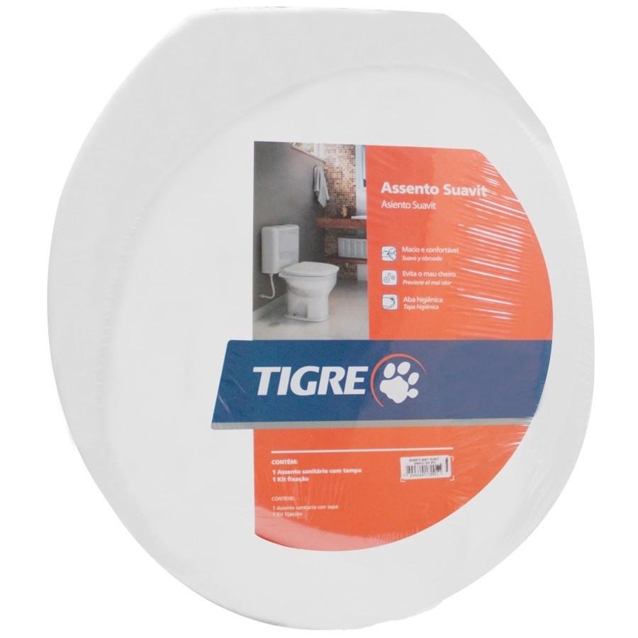 Assento Sanitário Almofadado Oval-Tampa Bacia de Banheiro Branco Tigre