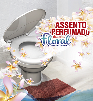 Assento Sanitário Almofadado Perfumado Oval-Tampa Bacia de Banheiro Branco