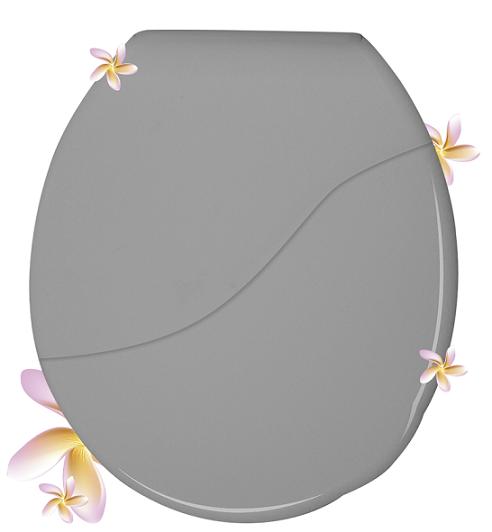 Assento Sanitário Almofadado Perfumado Oval Cinza Claro