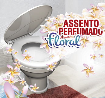 Assento Sanitário Convencional Perfumado Oval-Tampa Bacia de Banheiro Cinza Claro