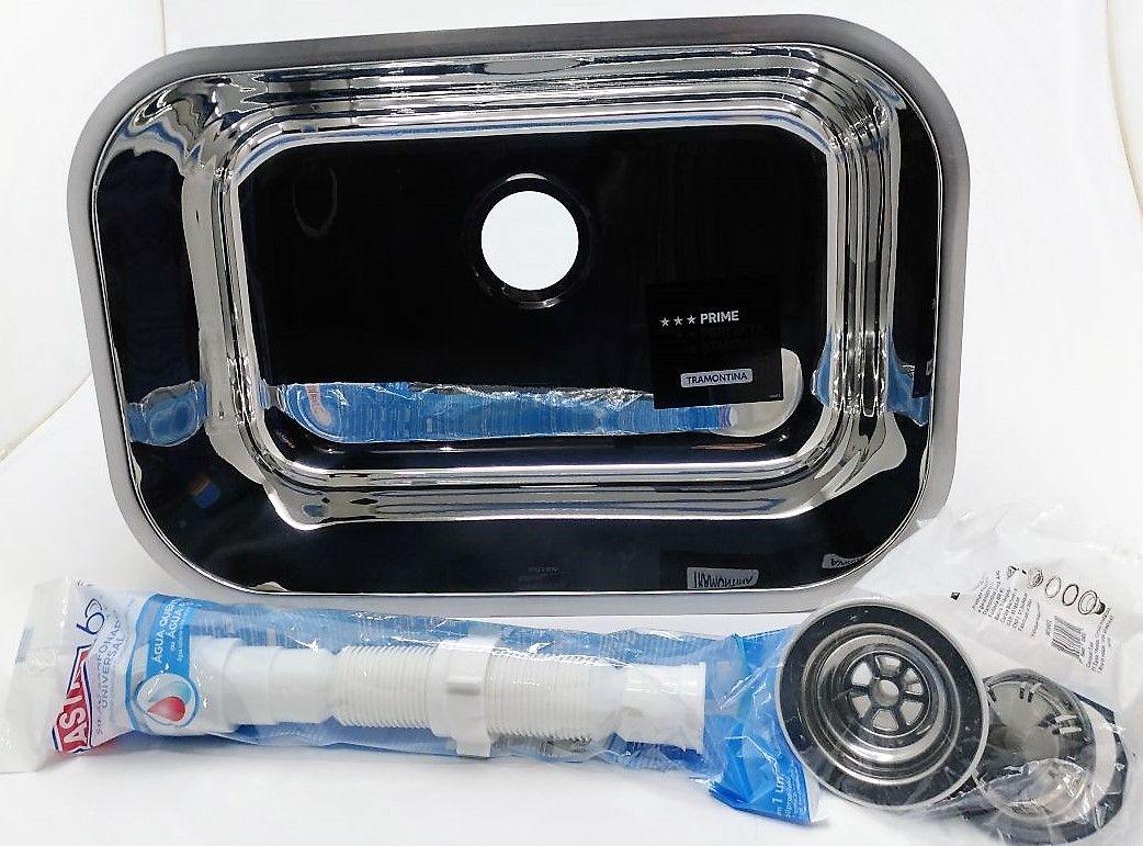 Cuba Aço Inox Prime Alto Brilho 47x30x17 C/ Válvula e Sifão