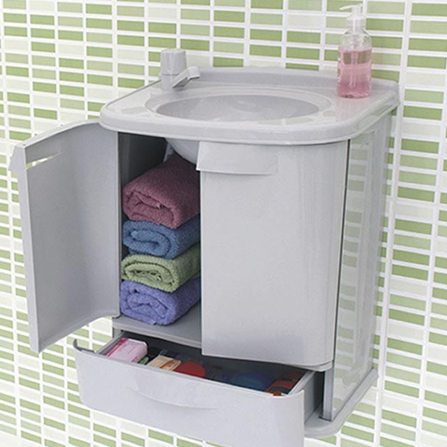 Gabinete Plastico Fit Para Banheiro Astra Color Completo