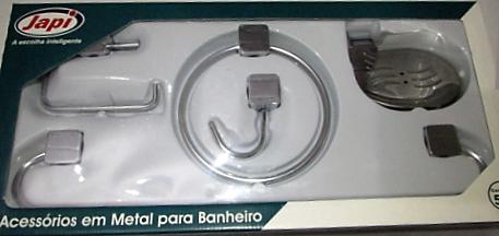 KIT ACESSORIOS P/ BANHEIRO LOTUS QUADRADO INOX - 5PCS