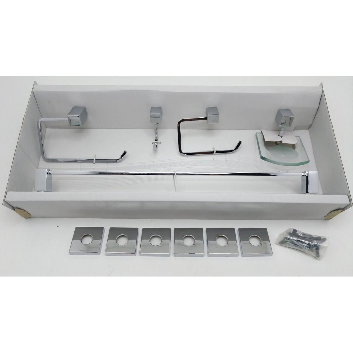 Kit Acessórios para Banheiro Quadra com 5 peças em Latão Cromado