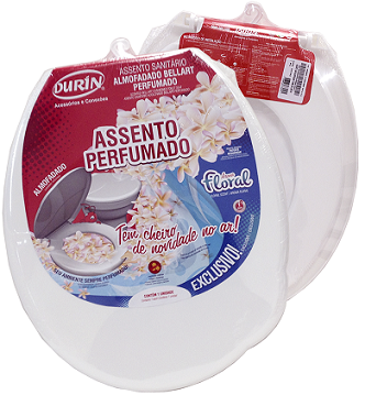 Kit Assento Sanitário Almofadado + Lixeira Perfumados Oval-Tampa Bacia de Banheiro Branco