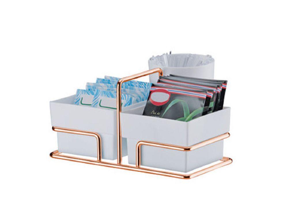 Organizador Para Sachês de Açúcar/Adoçante e Mexedor - Rosé Gold/Branco